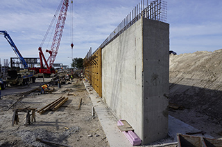 Abutment wall construction at Taxiway J