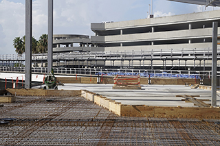 Upclose picture of concrete pour at outdoor terrace