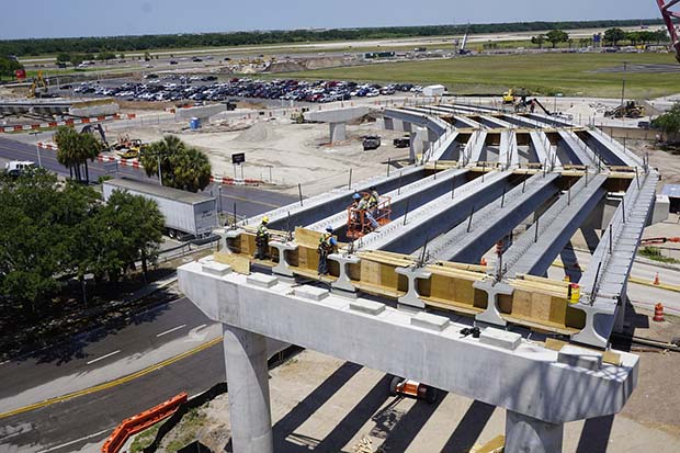SkyConnect guideway takes a turn