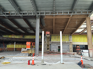 Fireproofing the steel beams on MTAC