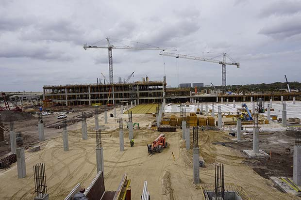 Section of rental car center has topped out