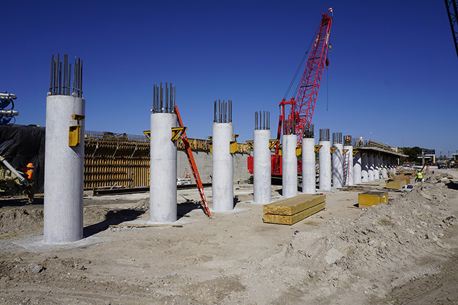 Pier columns poured at Taxiway J Bridge