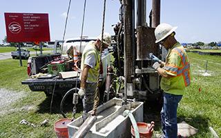 Pilot hole drilling near Bessie Coleman Parkway