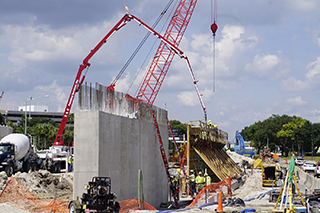 Pouring the concrete support walls
