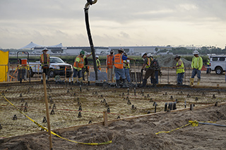 Pouring concrete for service center