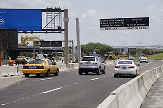 Inbound lane shifts at Tampa International