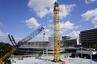 Tower crane being assemlbed for West Side Construction