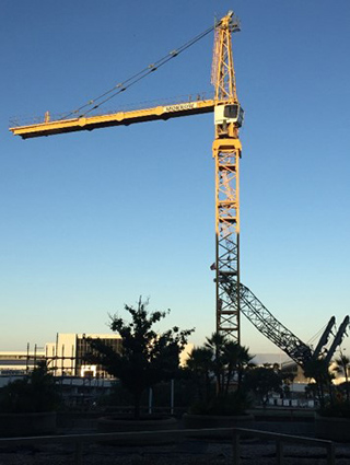 Tower crane completely assemlbed for West Side Construction