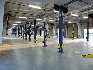 View of completed service bays in the Service Centers