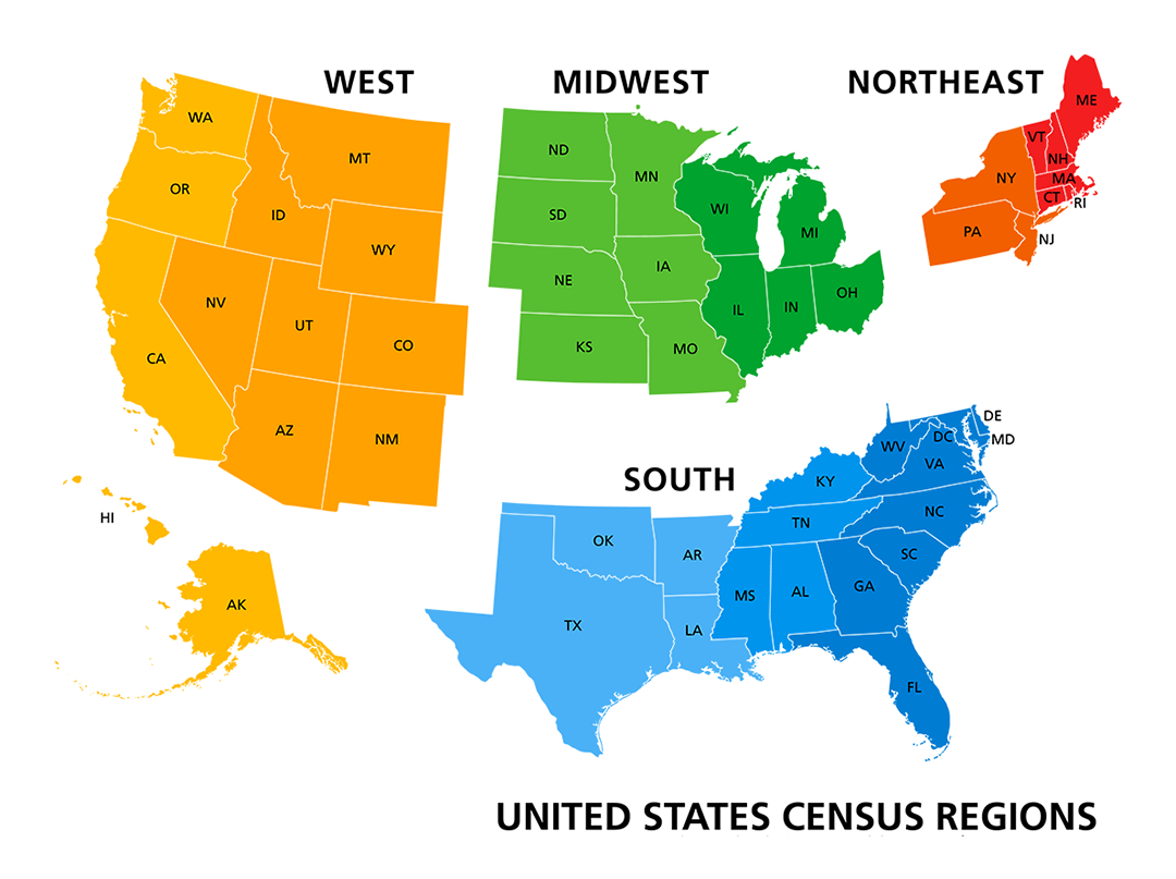 US Census region map