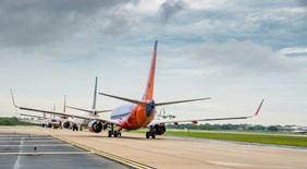 Southwest Airlines lined up for departure