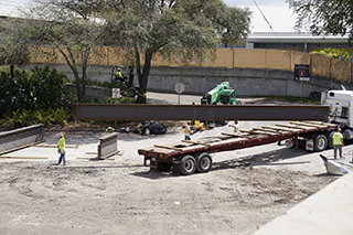 Delivery of big steel beams for Main Terminal expansion project