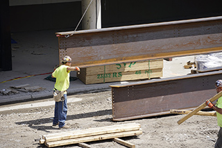 Delivery of big steel beam closeup