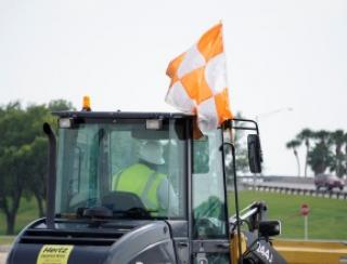 Orange and white flag